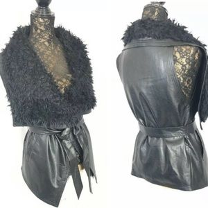 LOVE TREE Faux Leather Draped Sherpa Collar Vest